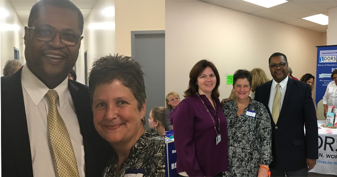Two side-by-side photos of Alex Johnson and attendees at the fifth annual Disability Resource Fair